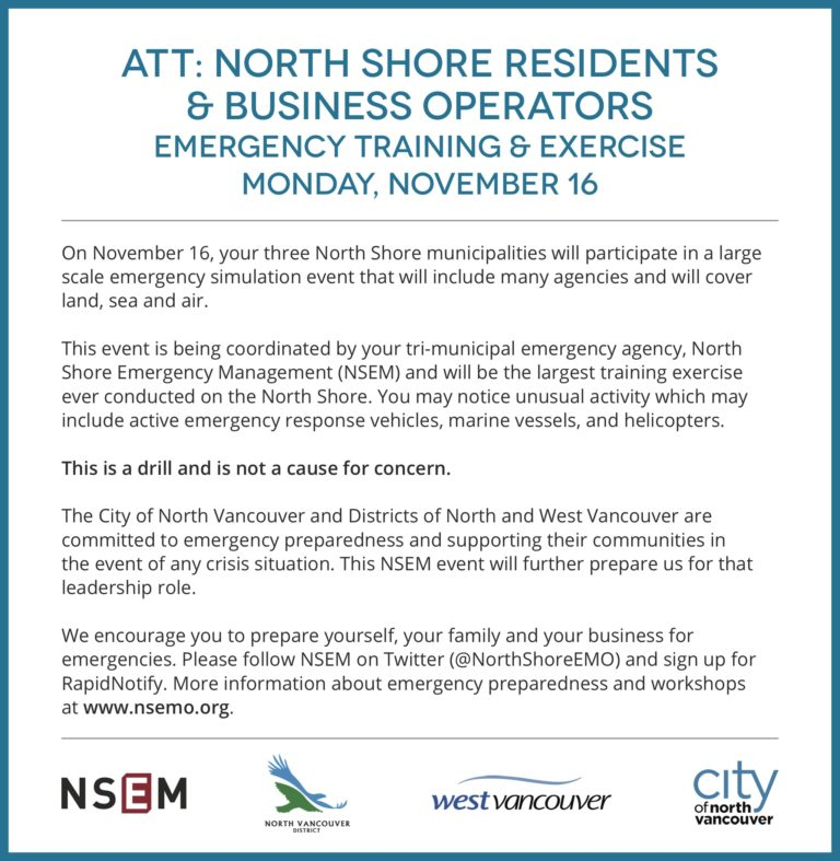 North Shore-wide Emergency Exercise – Monday Nov 16th