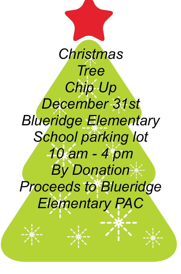 Christmas Tree Chip-Up December 31st 10 am – 4 pm by donation