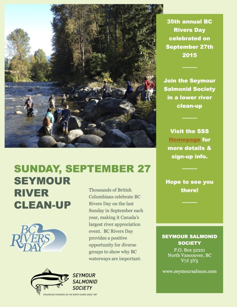 BC Rivers Day – Lower Seymour River Clean Up September 27th