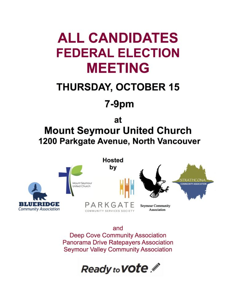 All Candidates Meeting – Thursday Oct 15th, 7 – 9 pm