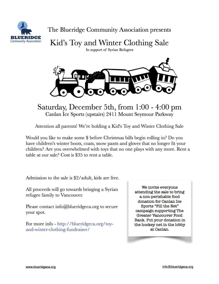 Kid's Toy and Winter Clothing Sale – this Saturday Dec 5th from 1:00 – 4:00 pm